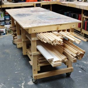 Assembly Table Wood Storage
