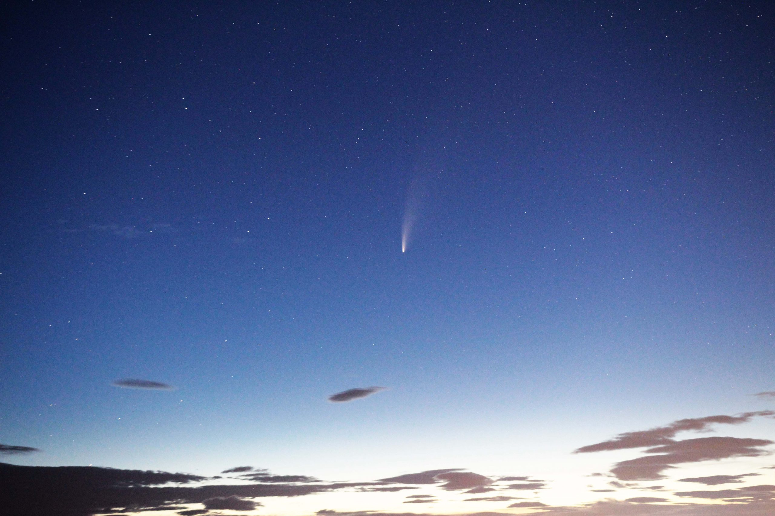 Neowise comet on a blue sky