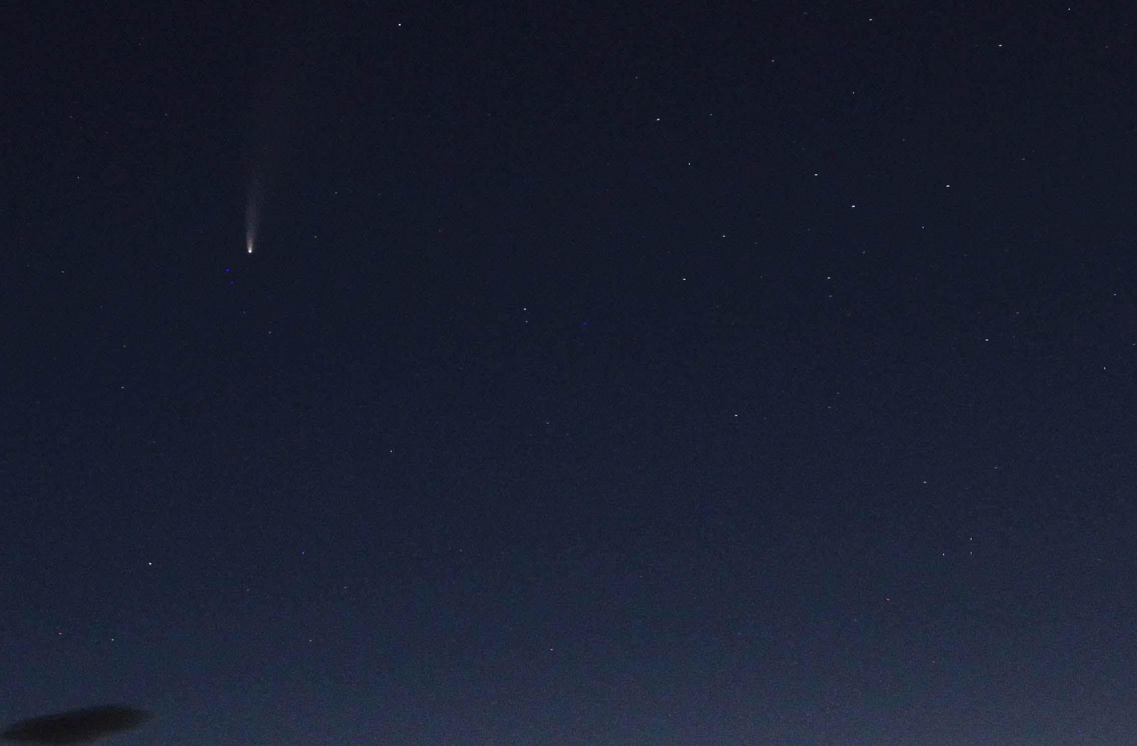 Neowise comet against a dark sky