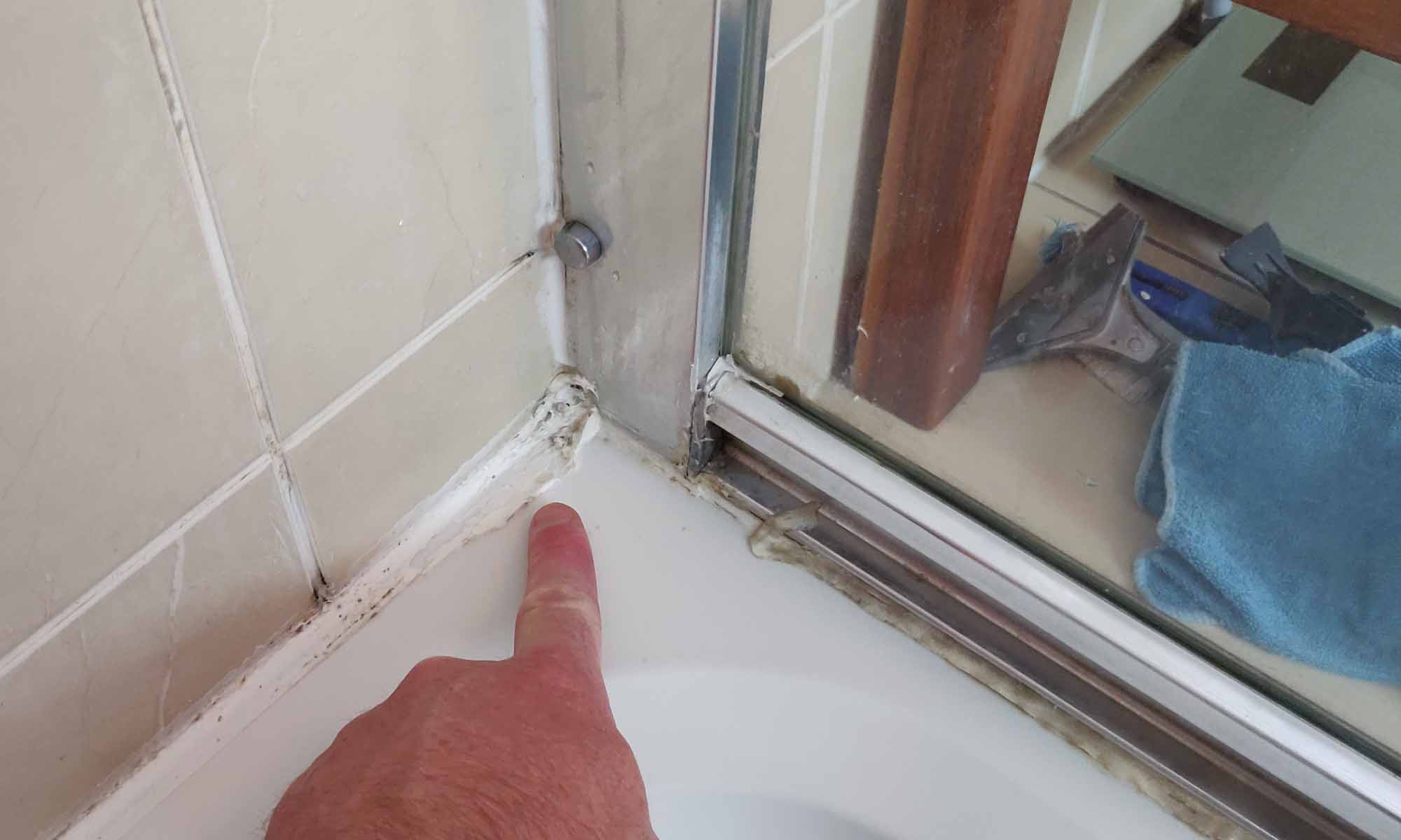 Mouldy Silicone on a Shower
